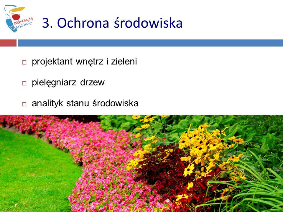 3. Ochrona środowiska projektant wnętrz i zieleni pielęgniarz drzew