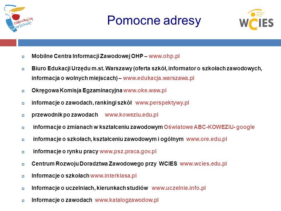 Pomocne adresy Mobilne Centra Informacji Zawodowej OHP – www.ohp.pl