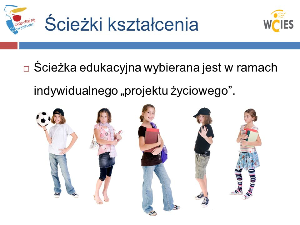 """Ścieżki kształcenia Ścieżka edukacyjna wybierana jest w ramach indywidualnego """"projektu życiowego ."""