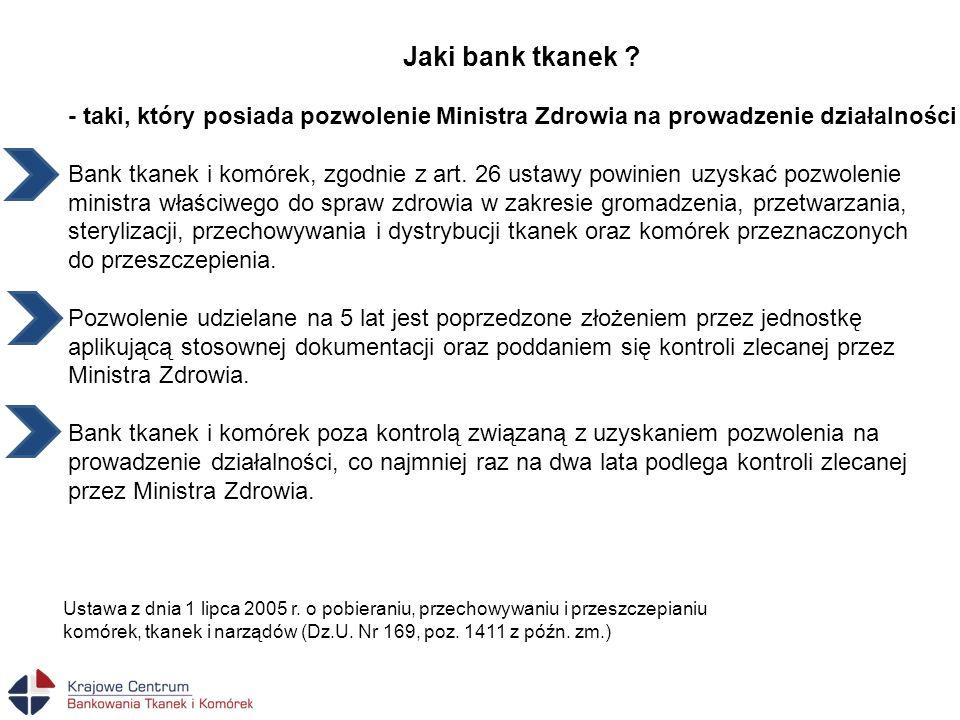 Jaki bank tkanek - taki, który posiada pozwolenie Ministra Zdrowia na prowadzenie działalności.