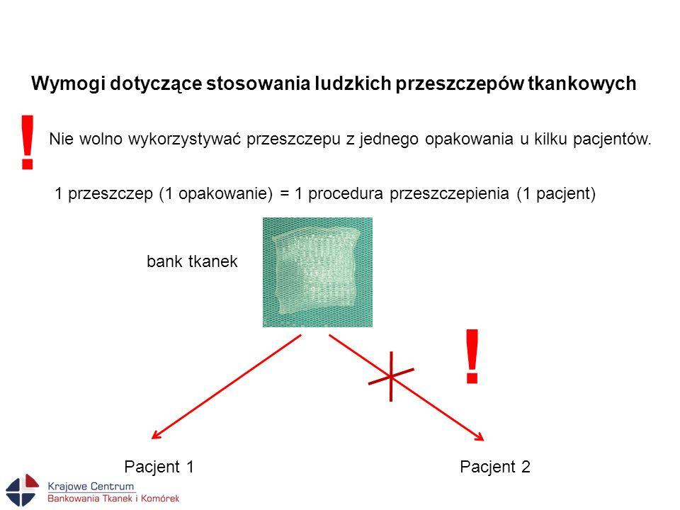 Wymogi dotyczące stosowania ludzkich przeszczepów tkankowych