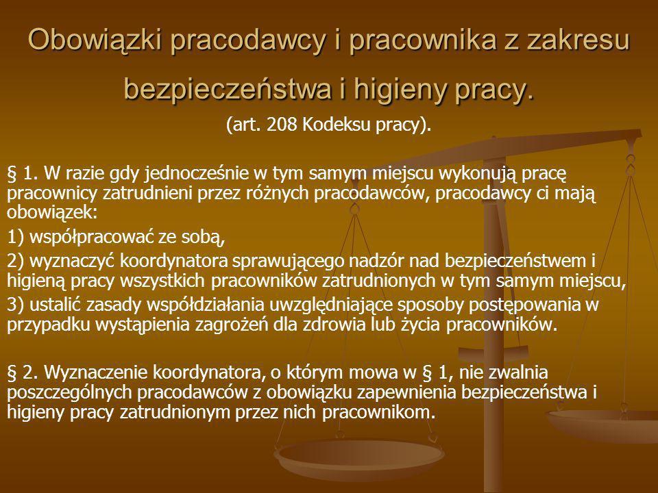 Obowiązki pracodawcy i pracownika z zakresu bezpieczeństwa i higieny pracy.