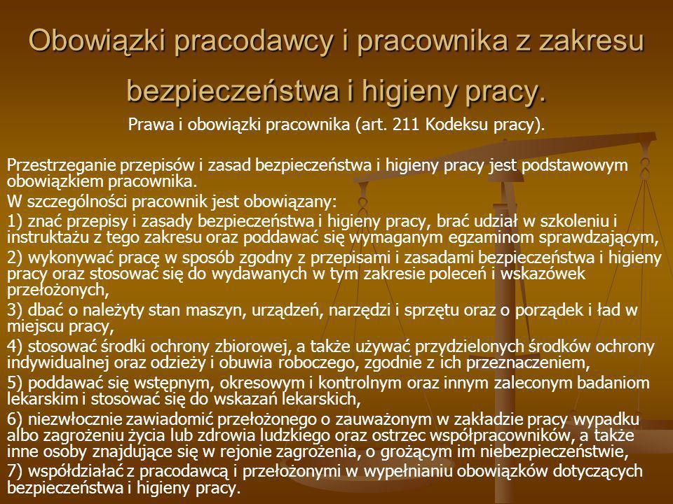 Prawa i obowiązki pracownika (art. 211 Kodeksu pracy).