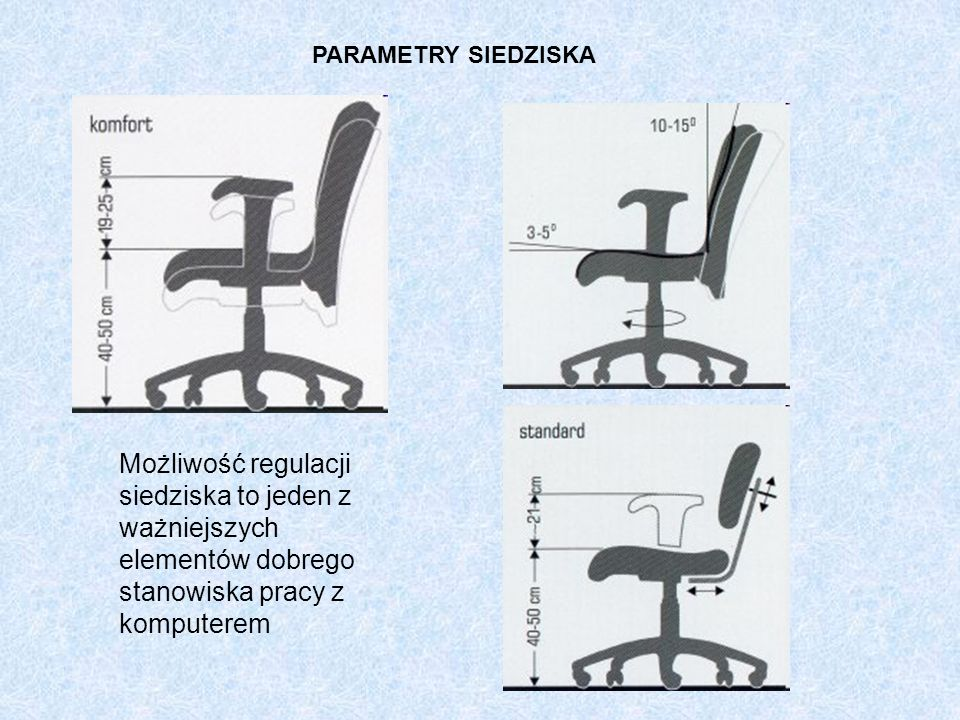 PARAMETRY SIEDZISKAMożliwość regulacji siedziska to jeden z ważniejszych elementów dobrego stanowiska pracy z komputerem.