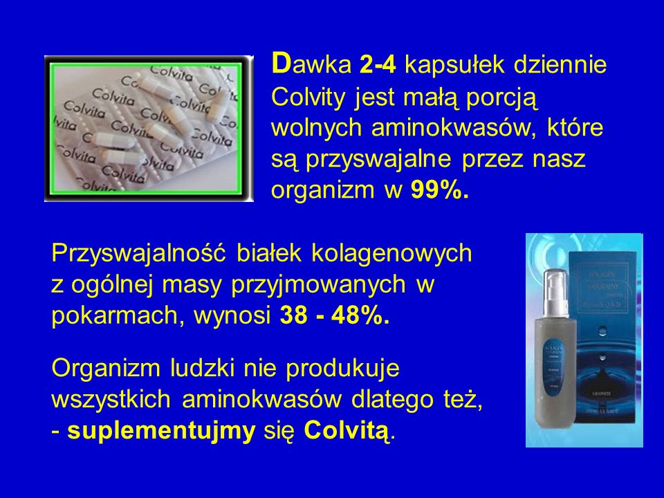 Dawka 2-4 kapsułek dziennie Colvity jest małą porcją wolnych aminokwasów, które są przyswajalne przez nasz organizm w 99%.