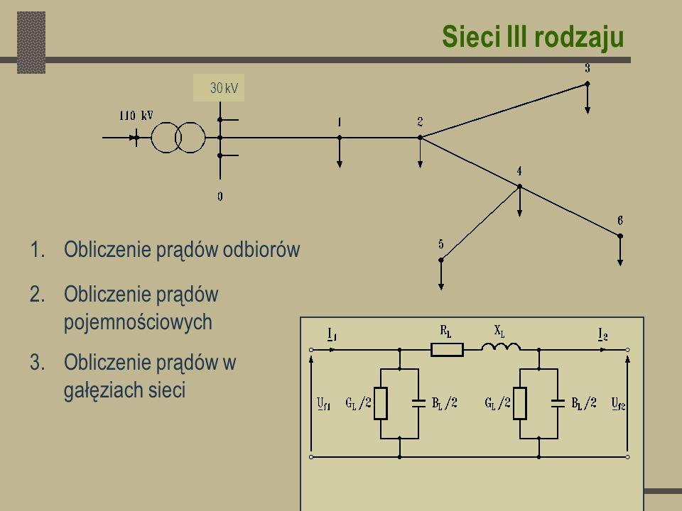 Sieci III rodzaju Obliczenie prądów odbiorów