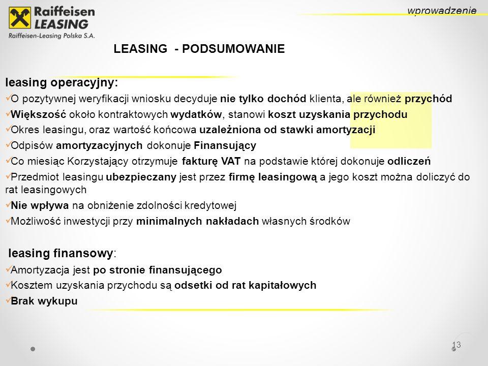 LEASING - PODSUMOWANIE leasing operacyjny: