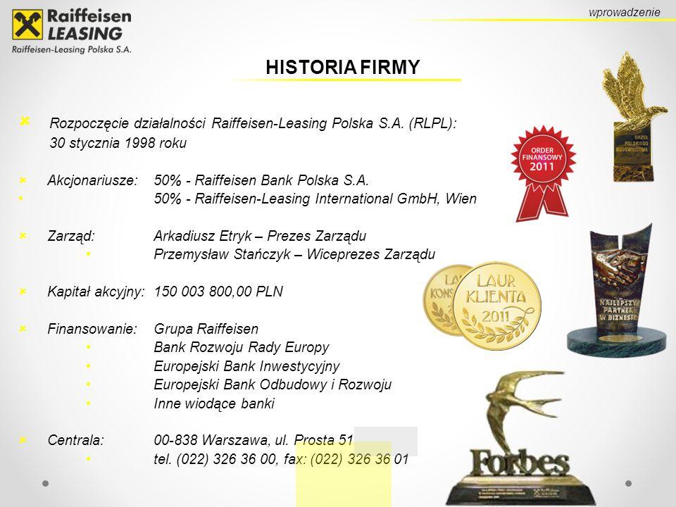Rozpoczęcie działalności Raiffeisen-Leasing Polska S.A. (RLPL):