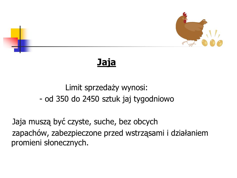 Jaja Limit sprzedaży wynosi: - od 350 do 2450 sztuk jaj tygodniowo