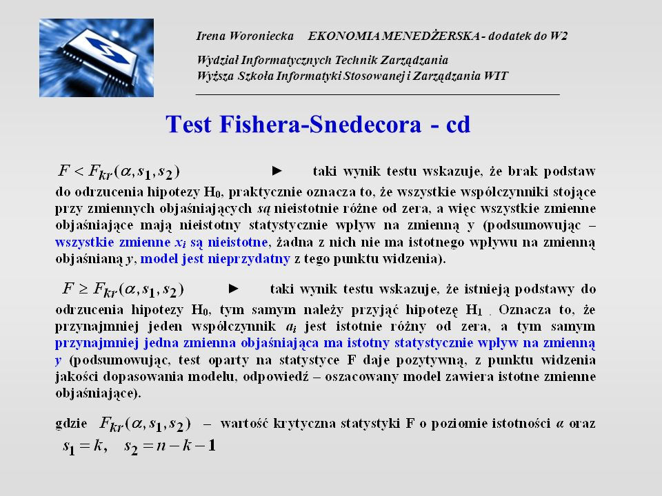 Test Fishera-Snedecora - cd
