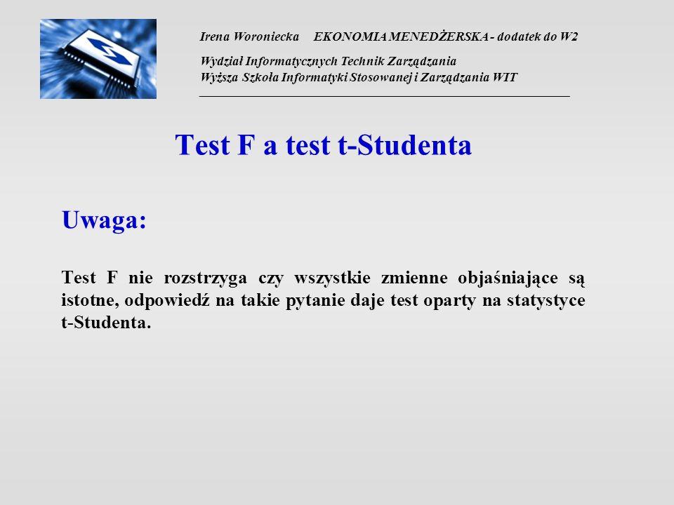 Test F a test t-Studenta