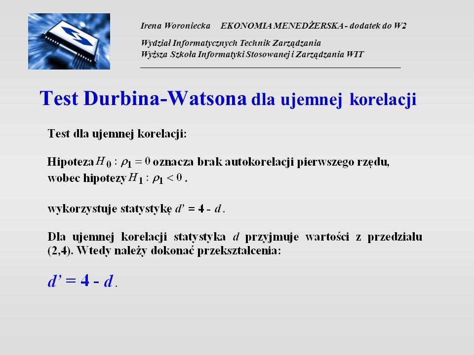 Test Durbina-Watsona dla ujemnej korelacji