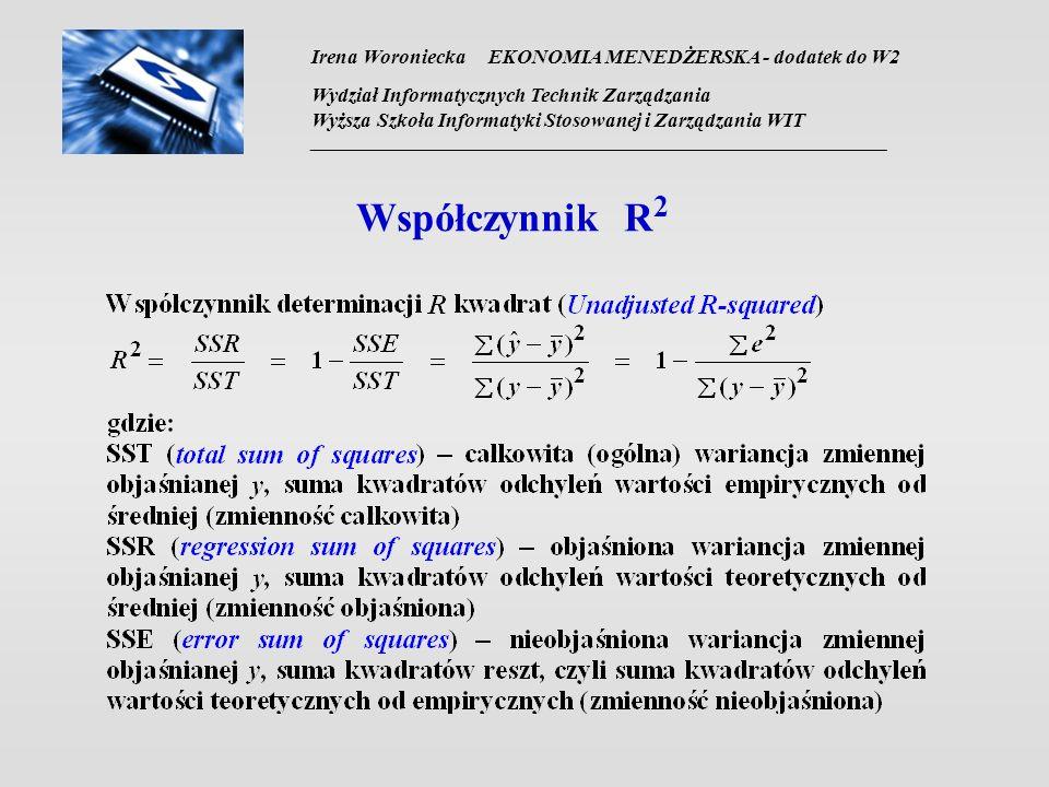 Współczynnik R2 Irena Woroniecka EKONOMIA MENEDŻERSKA - dodatek do W2
