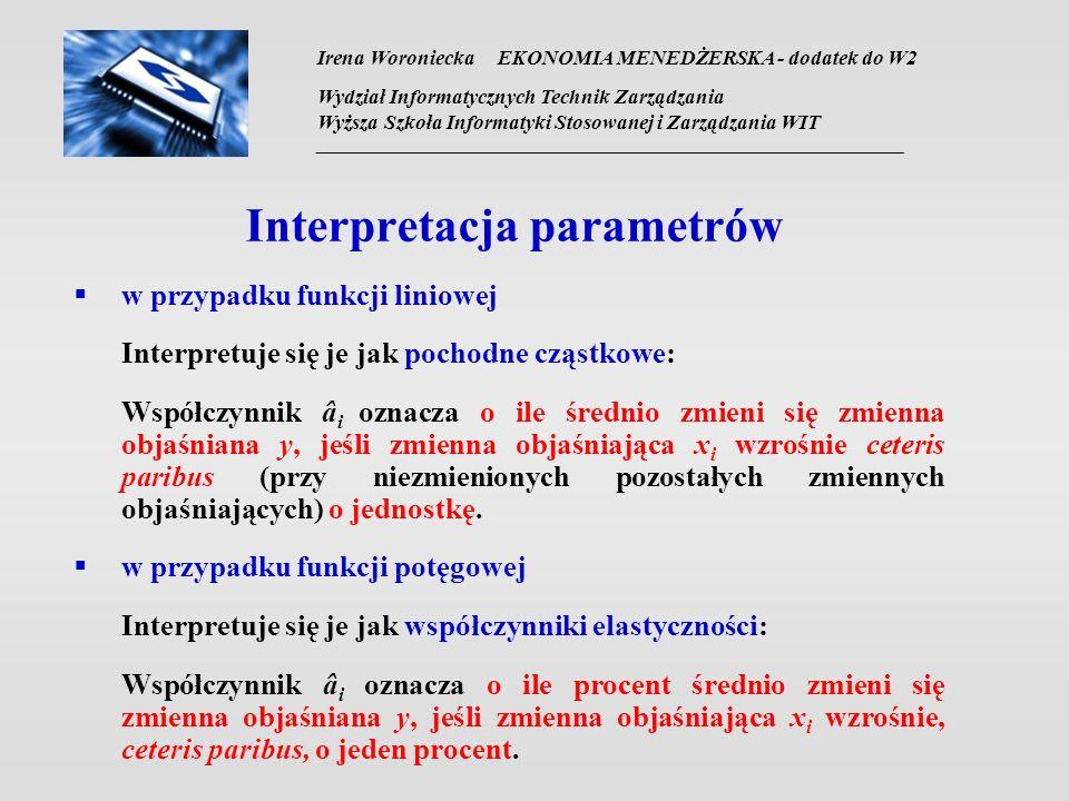 Interpretacja parametrów