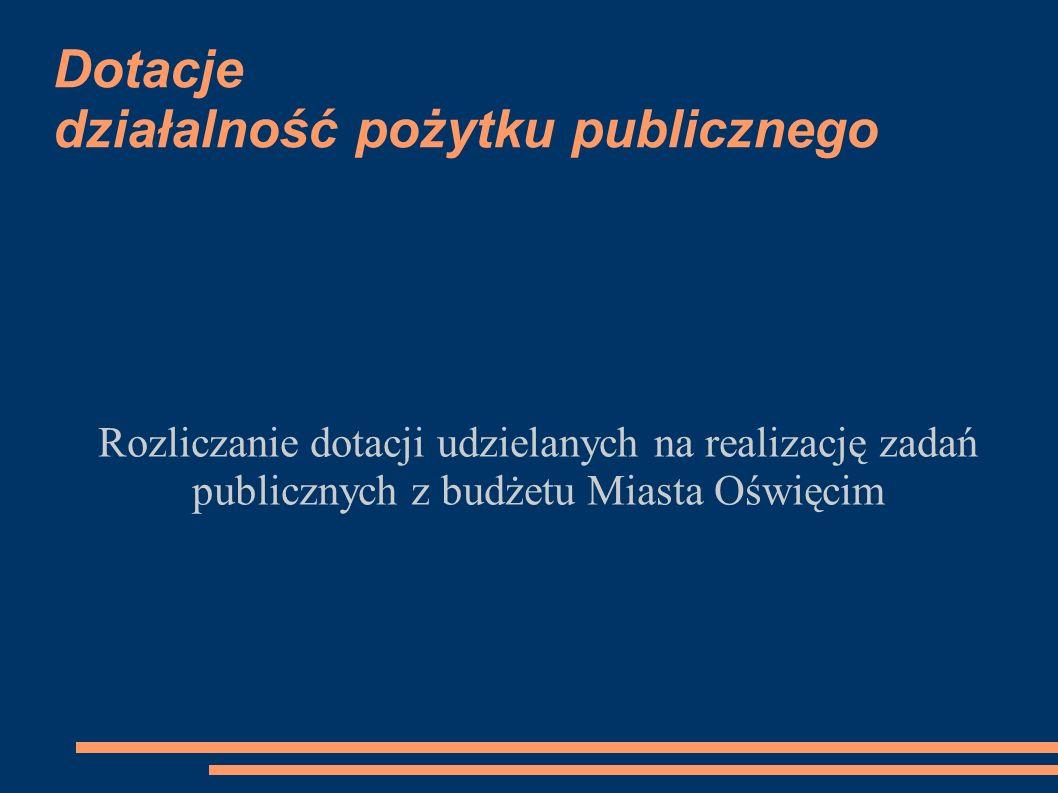 Dotacje działalność pożytku publicznego