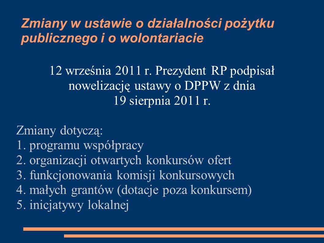 Zmiany w ustawie o działalności pożytku publicznego i o wolontariacie