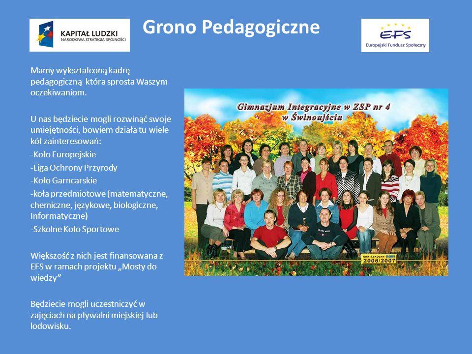 Grono Pedagogiczne Mamy wykształconą kadrę pedagogiczną która sprosta Waszym oczekiwaniom.