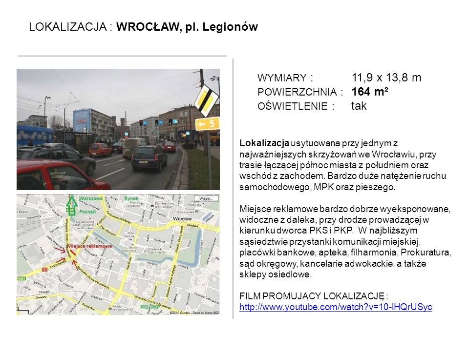 LOKALIZACJA : WROCŁAW, pl. Legionów