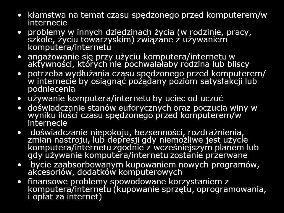 kłamstwa na temat czasu spędzonego przed komputerem/w internecie