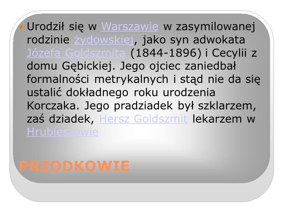 Urodził się w Warszawie w zasymilowanej rodzinie żydowskiej, jako syn adwokata Józefa Goldszmita (1844-1896) i Cecylii z domu Gębickiej. Jego ojciec zaniedbał formalności metrykalnych i stąd nie da się ustalić dokładnego roku urodzenia Korczaka. Jego pradziadek był szklarzem, zaś dziadek, Hersz Goldszmit lekarzem w Hrubieszowie