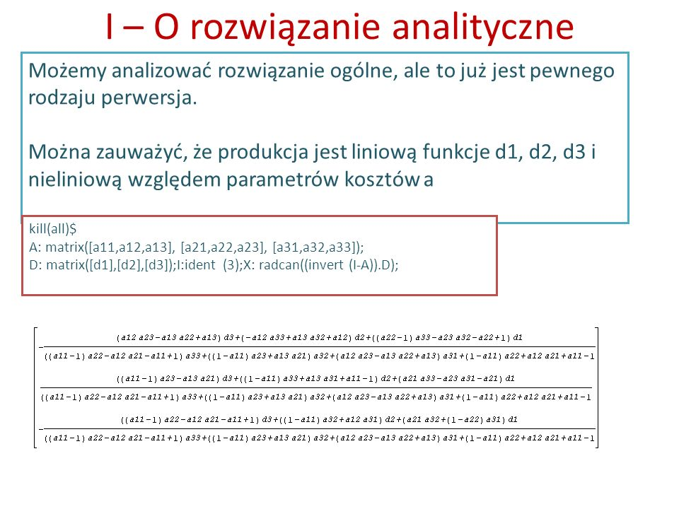 I – O rozwiązanie analityczne