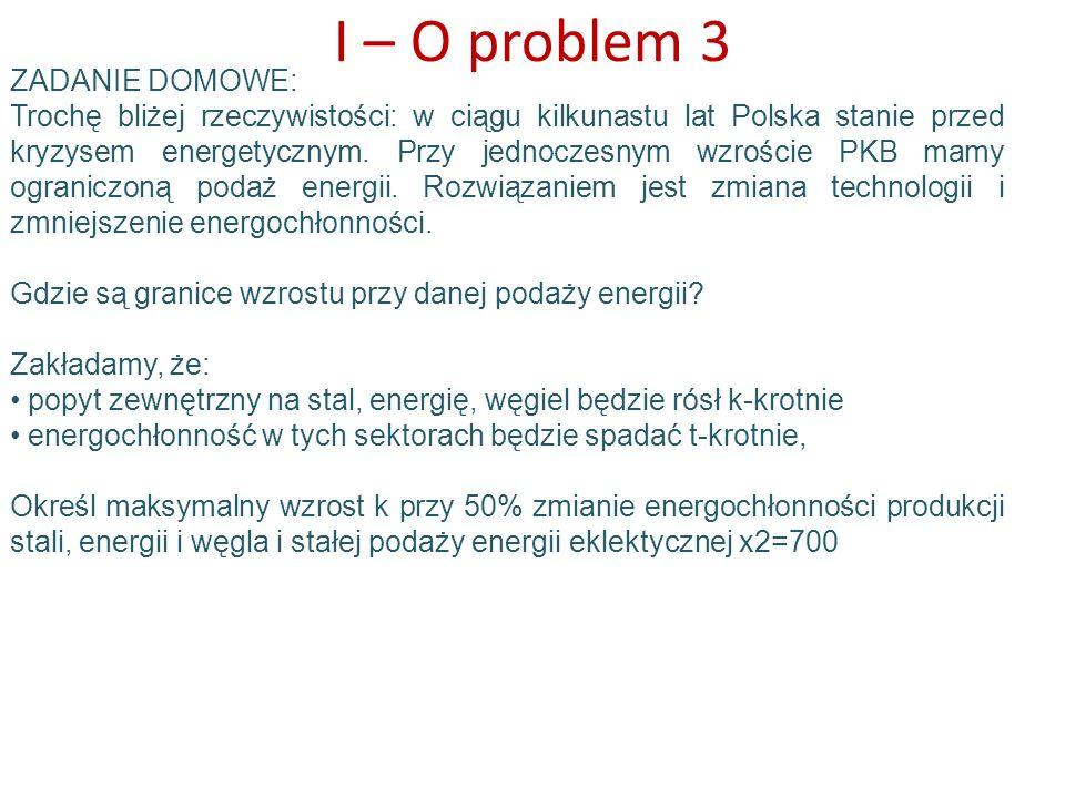 I – O problem 3 ZADANIE DOMOWE: