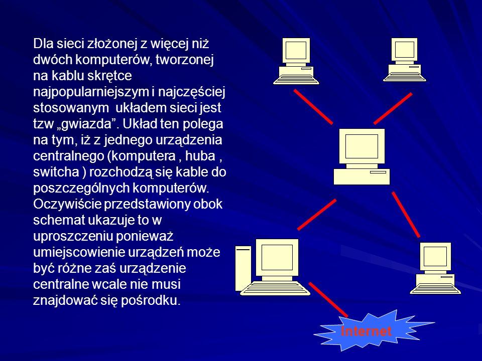 """Dla sieci złożonej z więcej niż dwóch komputerów, tworzonej na kablu skrętce najpopularniejszym i najczęściej stosowanym układem sieci jest tzw """"gwiazda . Układ ten polega na tym, iż z jednego urządzenia centralnego (komputera , huba , switcha ) rozchodzą się kable do poszczególnych komputerów. Oczywiście przedstawiony obok schemat ukazuje to w uproszczeniu ponieważ umiejscowienie urządzeń może być różne zaś urządzenie centralne wcale nie musi znajdować się pośrodku."""