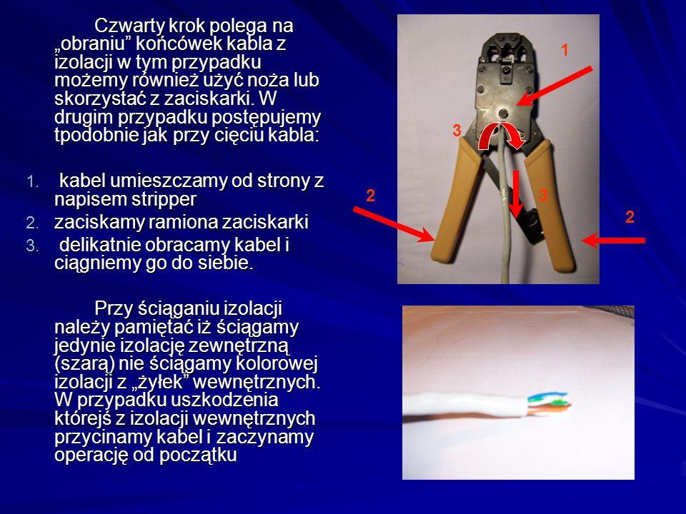 kabel umieszczamy od strony z napisem stripper