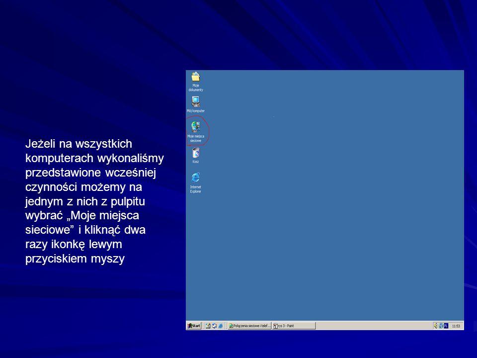 """Jeżeli na wszystkich komputerach wykonaliśmy przedstawione wcześniej czynności możemy na jednym z nich z pulpitu wybrać """"Moje miejsca sieciowe i kliknąć dwa razy ikonkę lewym przyciskiem myszy"""
