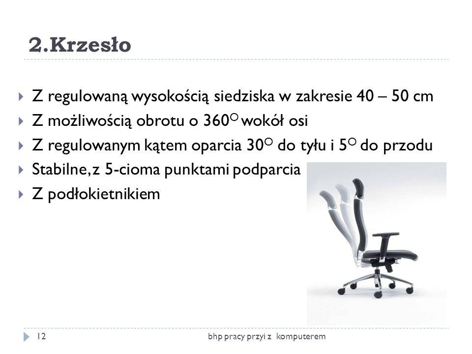2.Krzesło Z regulowaną wysokością siedziska w zakresie 40 – 50 cm