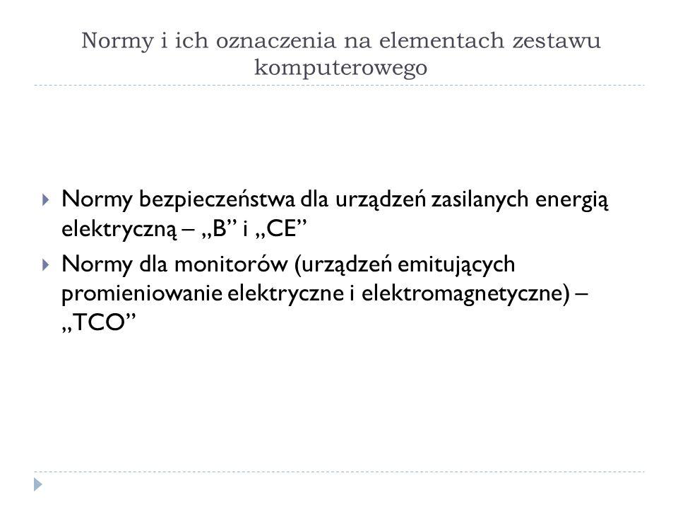 Normy i ich oznaczenia na elementach zestawu komputerowego