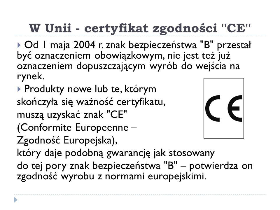 W Unii - certyfikat zgodności CE