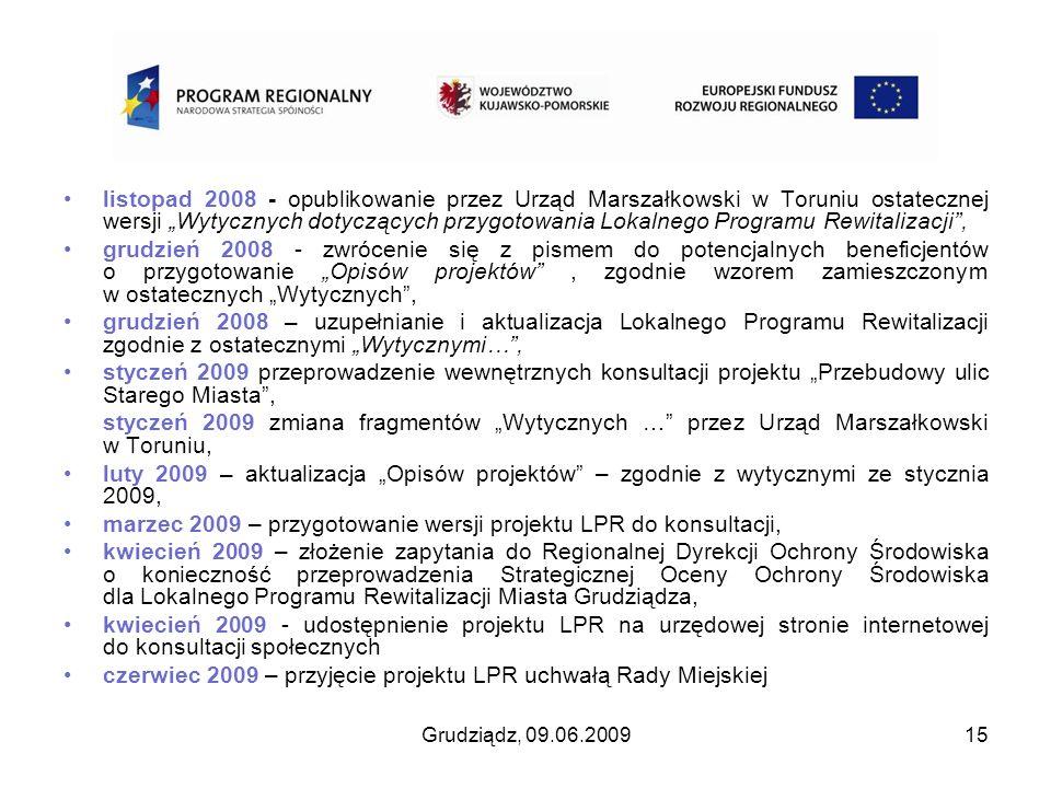 marzec 2009 – przygotowanie wersji projektu LPR do konsultacji,
