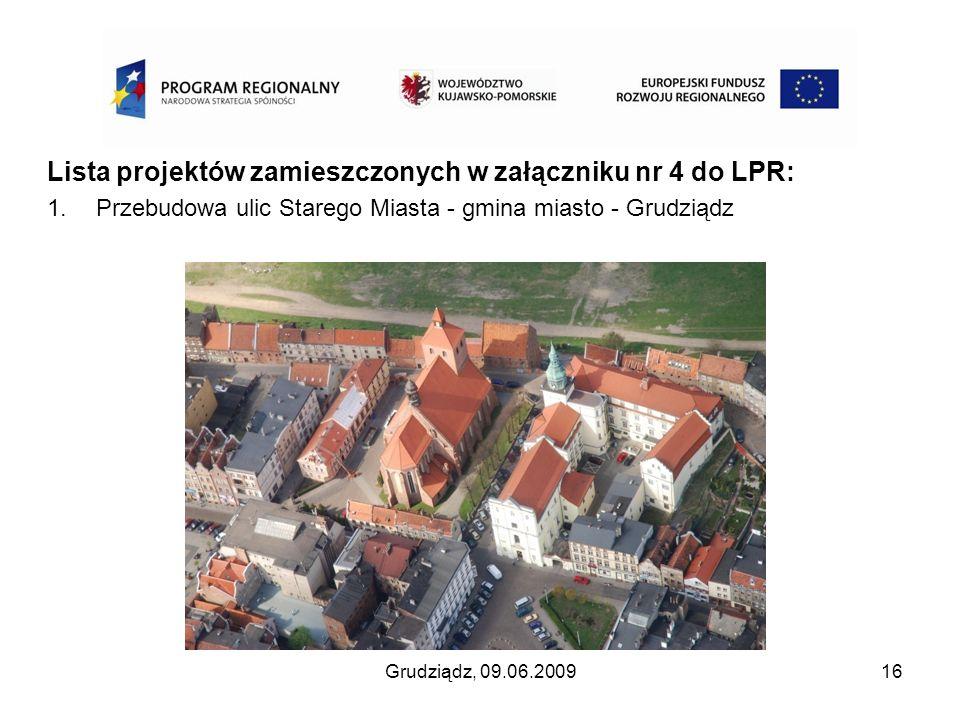 Lista projektów zamieszczonych w załączniku nr 4 do LPR: