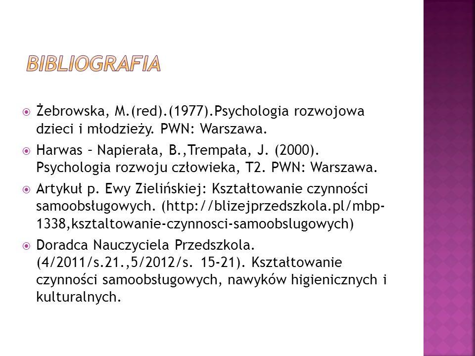 BIBLIOGRAFIA Żebrowska, M.(red).(1977).Psychologia rozwojowa dzieci i młodzieży. PWN: Warszawa.