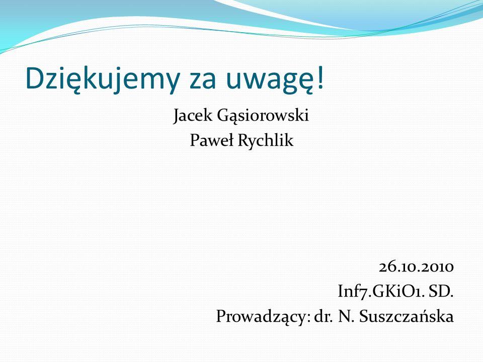 Dziękujemy za uwagę! Jacek Gąsiorowski Paweł Rychlik 26.10.2010