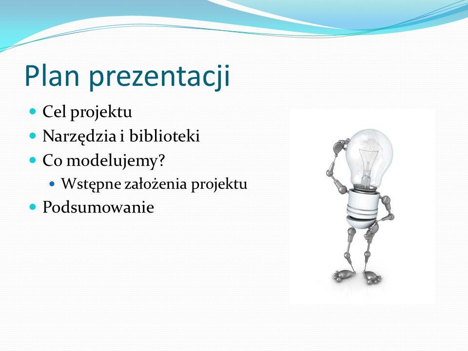Plan prezentacji Cel projektu Narzędzia i biblioteki Co modelujemy