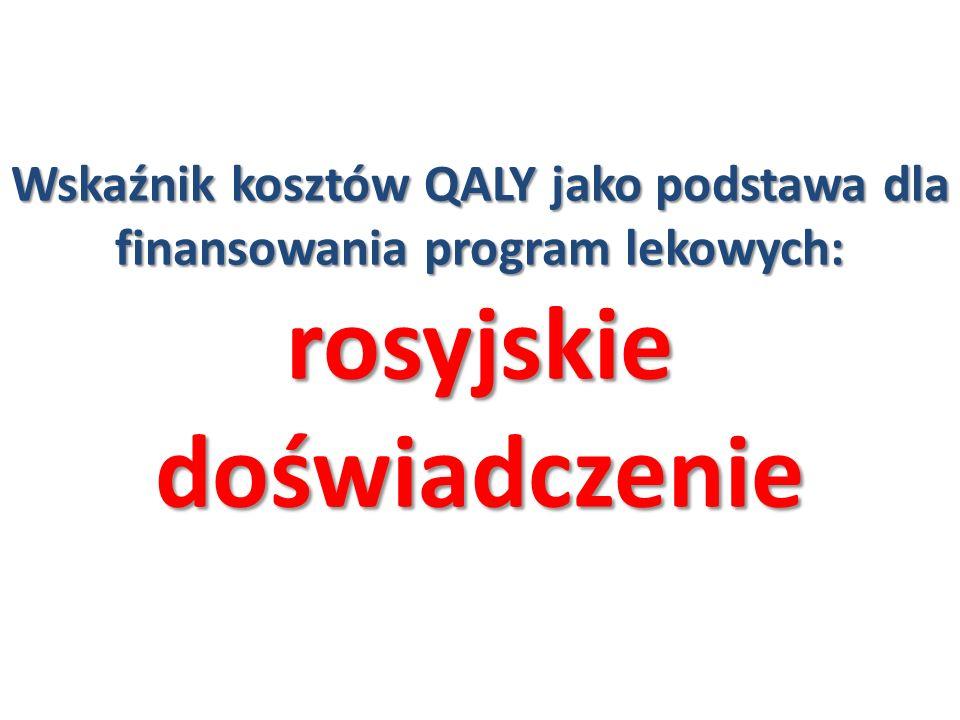 Wskaźnik kosztów QALY jako podstawa dla finansowania program lekowych: rosyjskie doświadczenie