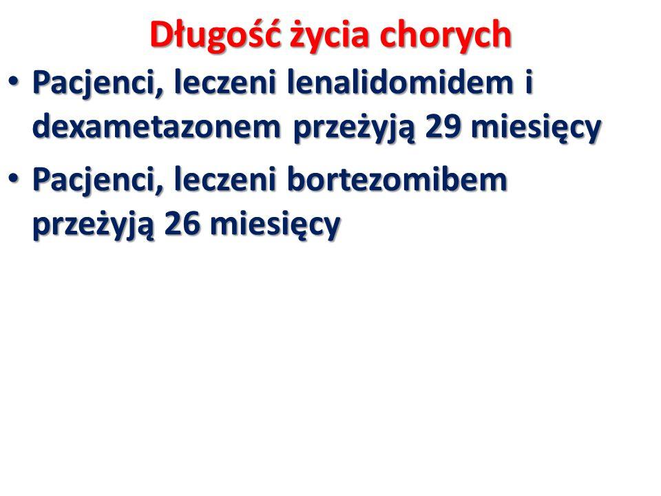 Długość życia chorych Pacjenci, leczeni lenalidomidem i dexametazonem przeżyją 29 miesięcy.