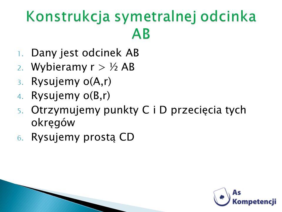 Konstrukcja symetralnej odcinka AB