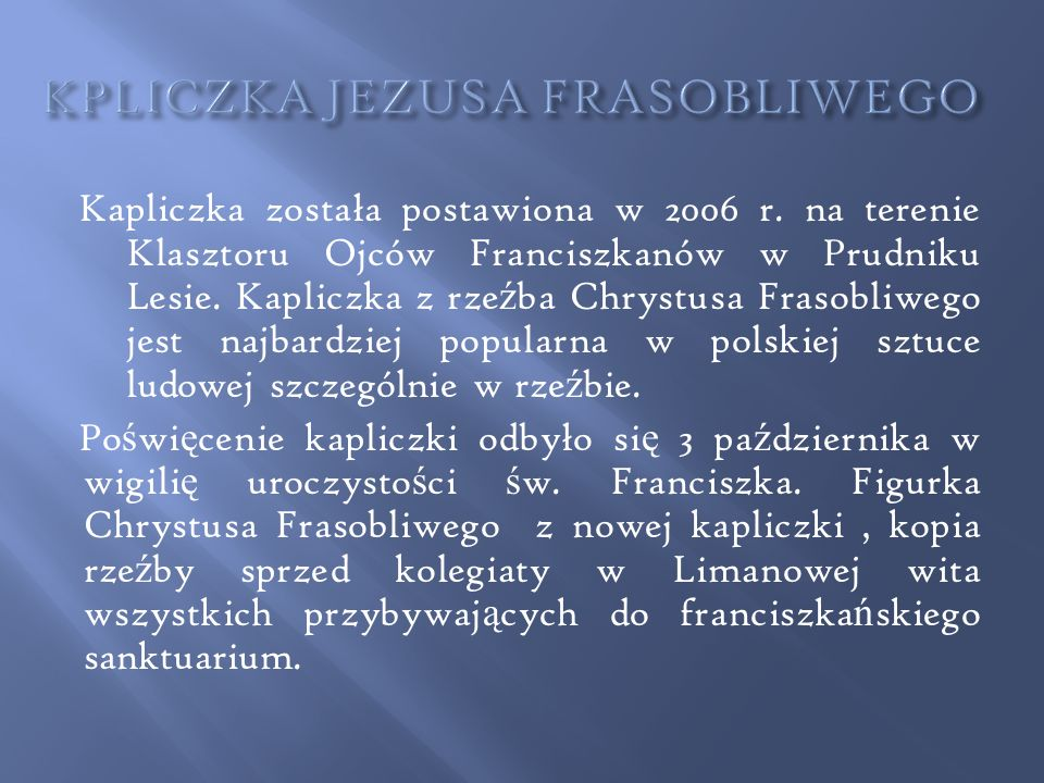 KPLICZKA JEZUSA FRASOBLIWEGO