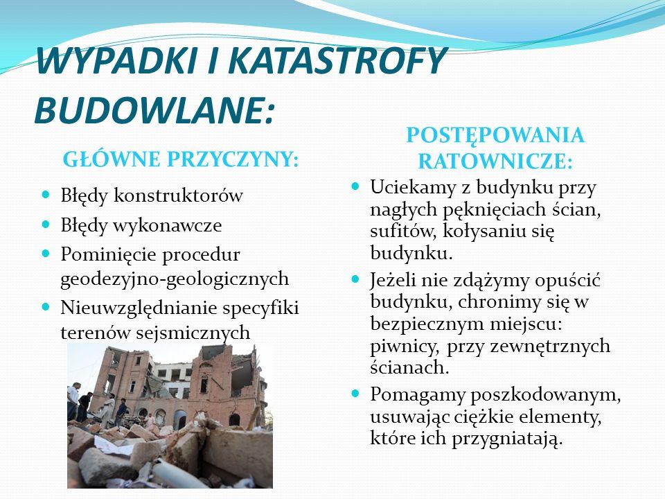 WYPADKI I KATASTROFY BUDOWLANE: