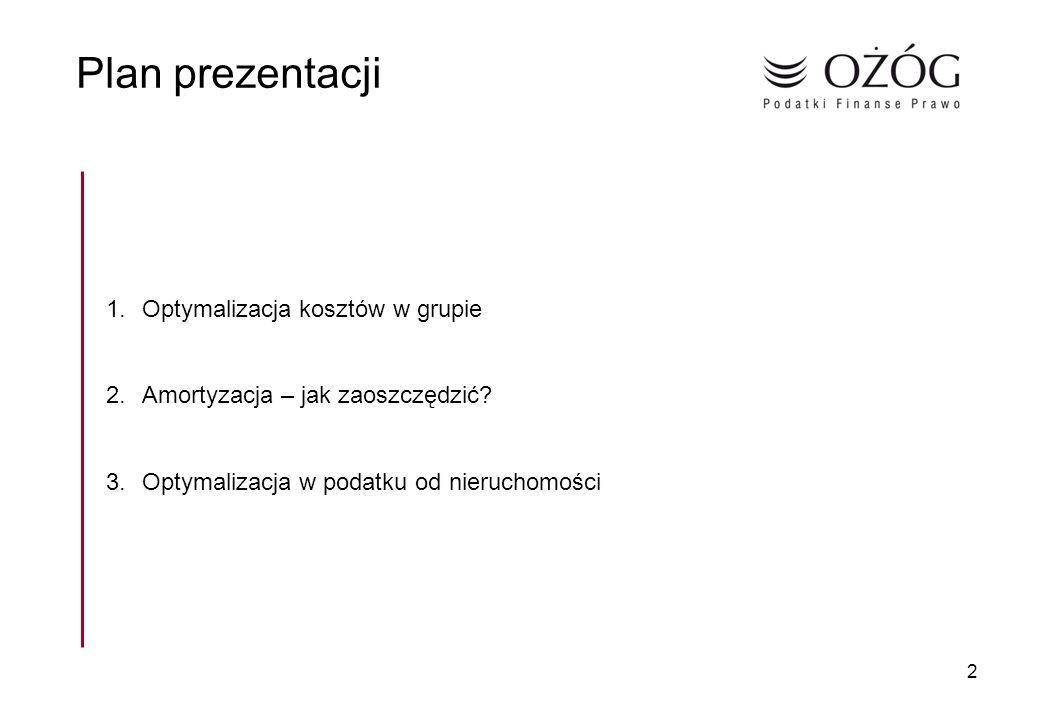 Plan prezentacji Optymalizacja kosztów w grupie