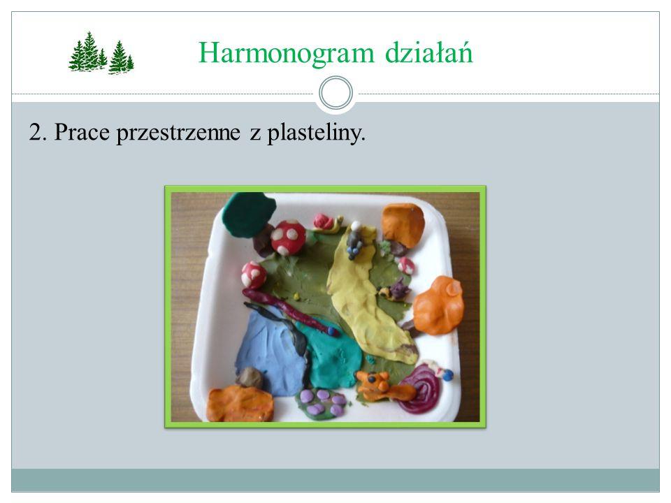 Harmonogram działań 2. Prace przestrzenne z plasteliny.
