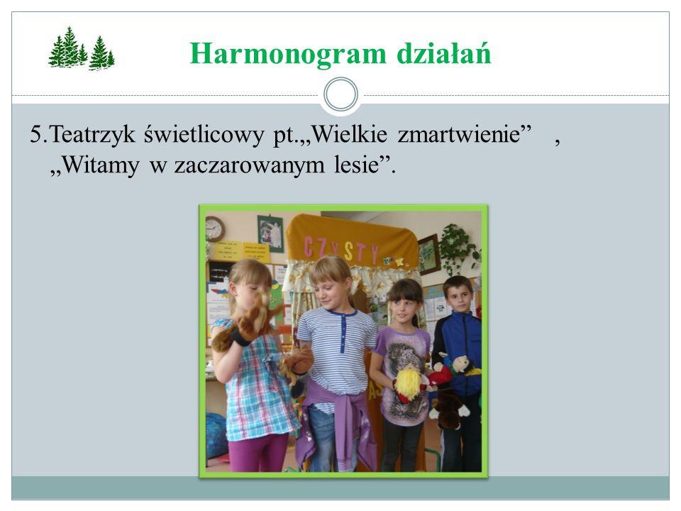 """Harmonogram działań 5.Teatrzyk świetlicowy pt.""""Wielkie zmartwienie , """"Witamy w zaczarowanym lesie ."""