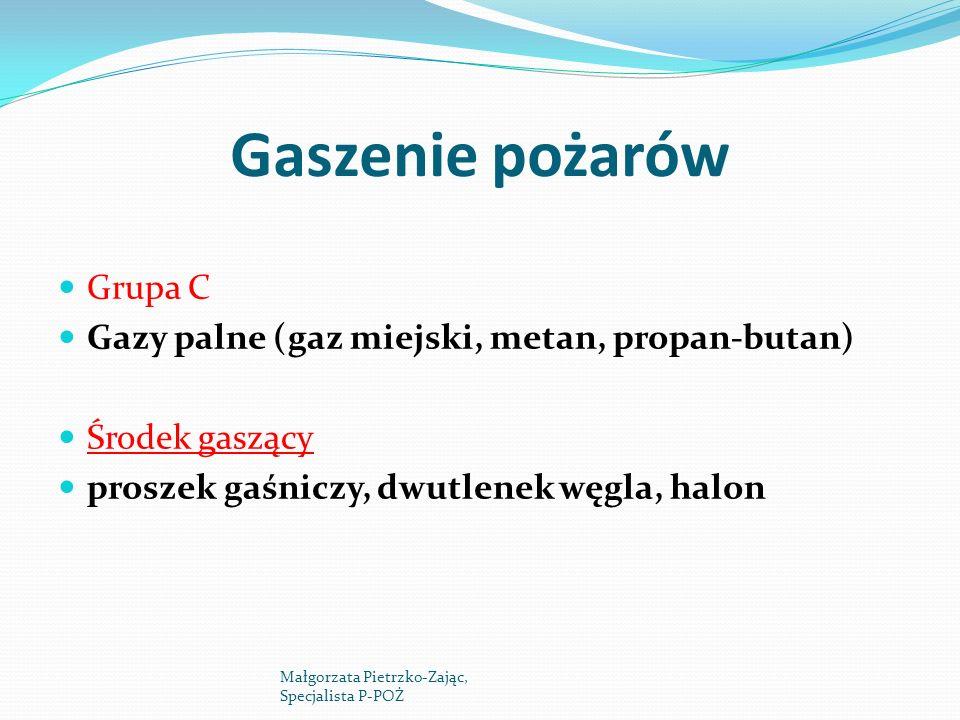 Gaszenie pożarów Grupa C Gazy palne (gaz miejski, metan, propan-butan)