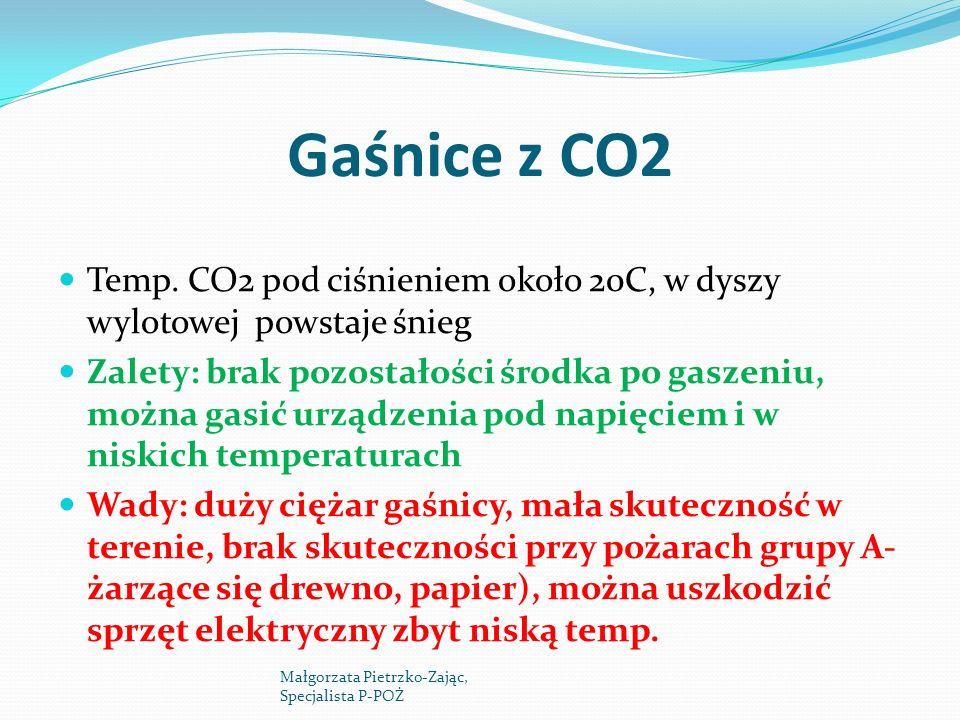 Gaśnice z CO2 Temp. CO2 pod ciśnieniem około 20C, w dyszy wylotowej powstaje śnieg.