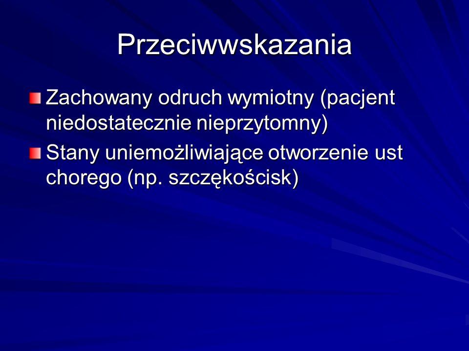 Przeciwwskazania Zachowany odruch wymiotny (pacjent niedostatecznie nieprzytomny) Stany uniemożliwiające otworzenie ust chorego (np.