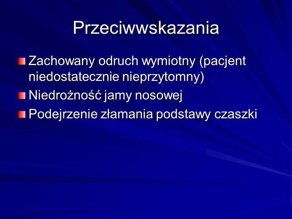 Przeciwwskazania Zachowany odruch wymiotny (pacjent niedostatecznie nieprzytomny) Niedrożność jamy nosowej.
