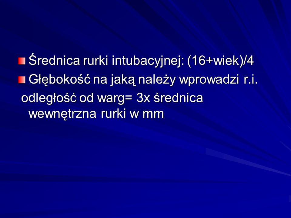 Średnica rurki intubacyjnej: (16+wiek)/4